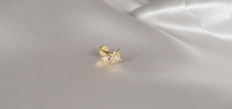 14k Gold 7 Star Piercing - Bella Andrea Jewellery