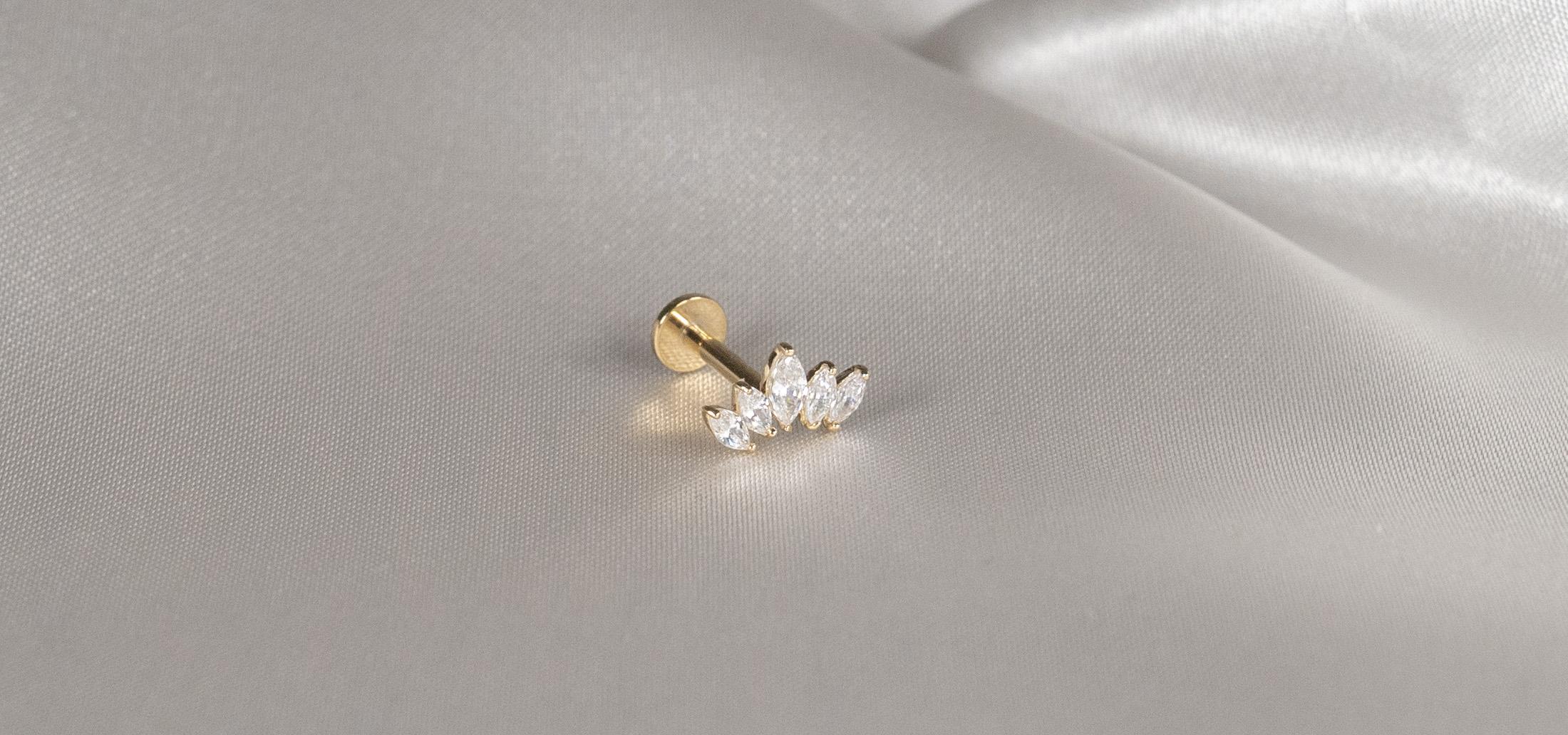14k Solid Gold 5 Gem Tiara - Bella Andrea Piercing Jewellery