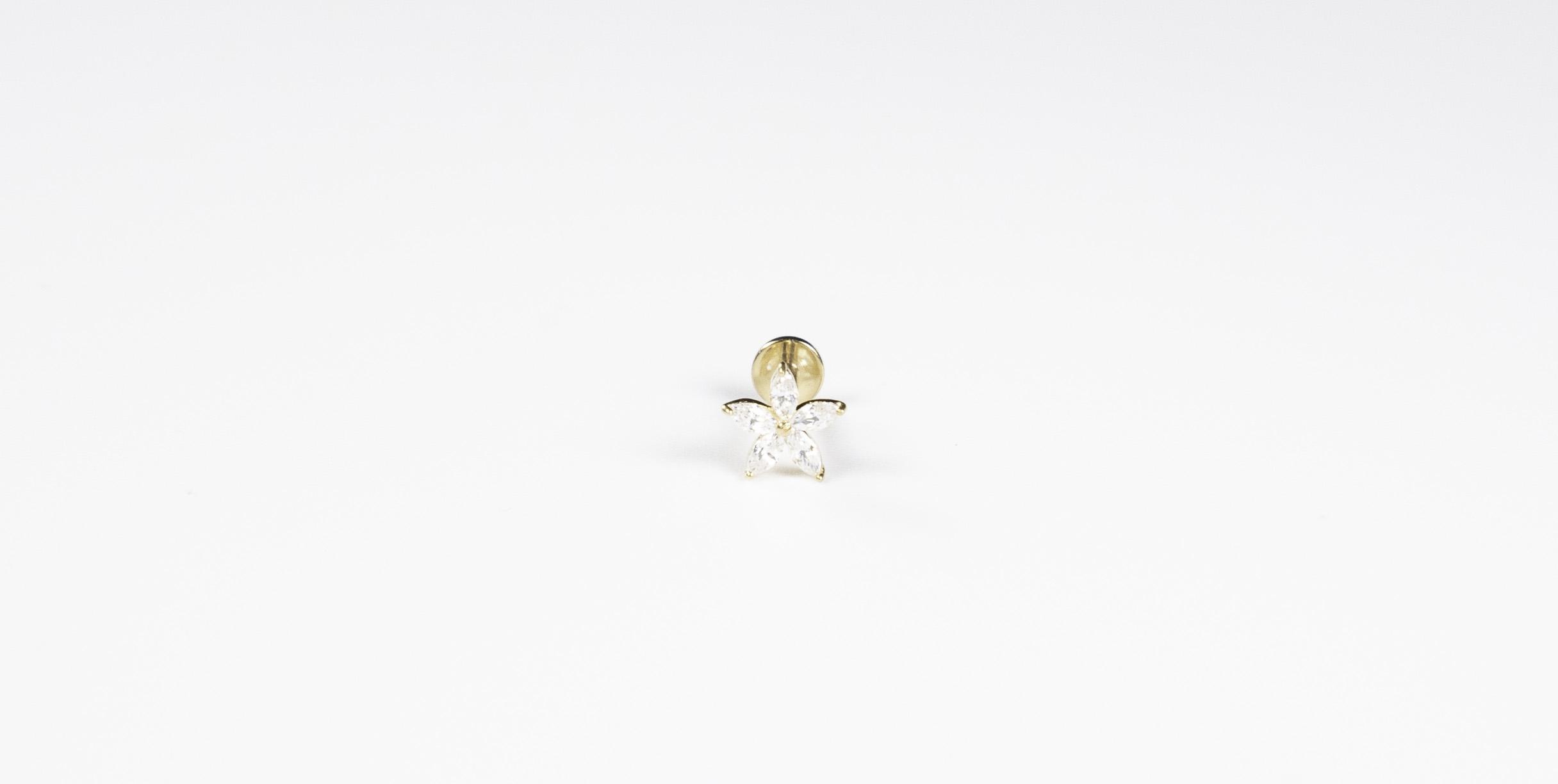 14k Solid Gold 5-Petal Gem - Bella Andrea London Piercing Jewellery (1)