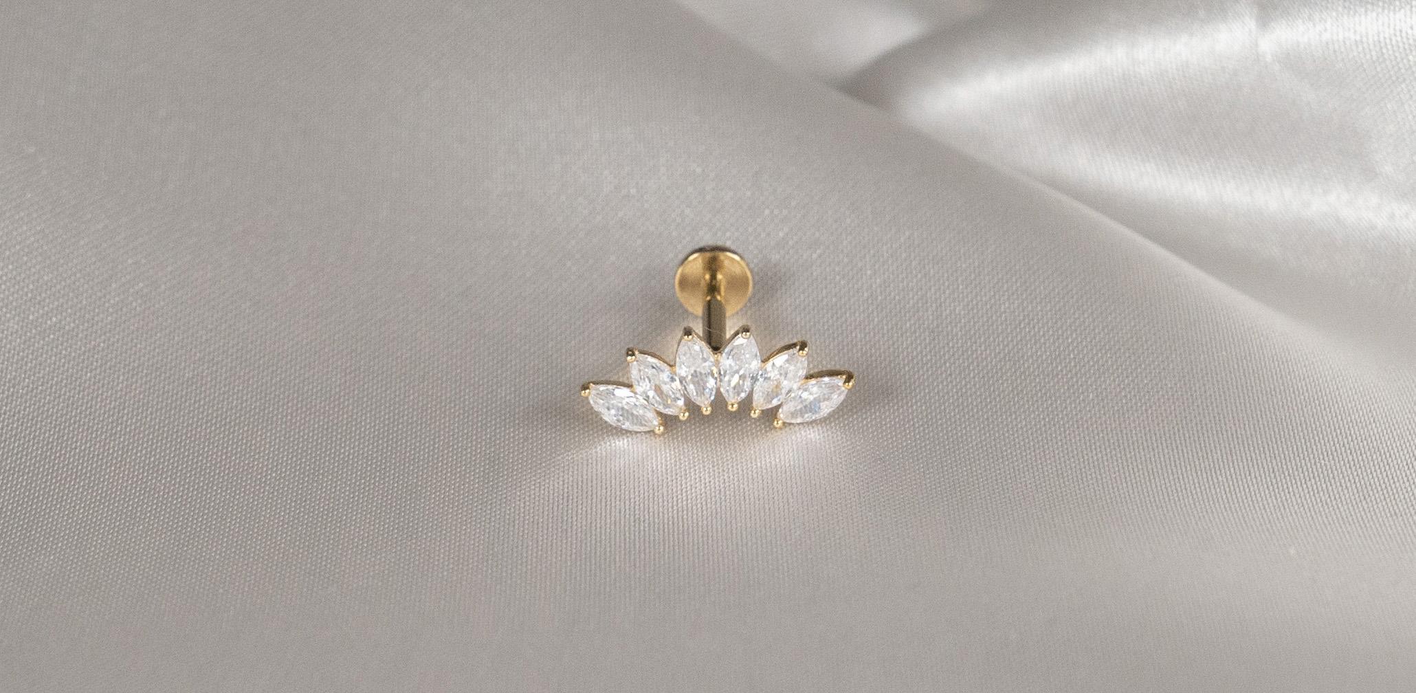 14k Solid Gold 6 Gem Tiara - Bella Andrea Piercing Jewellery (1)