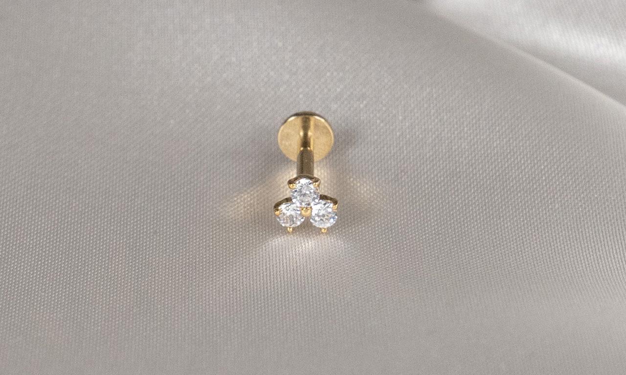 14k Solid Gold Tri-Gem Tiara - Bella Andrea Piercing Jewellery (