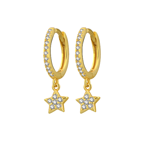 Yellow Gold Hoop With Star - Bella Andrea London