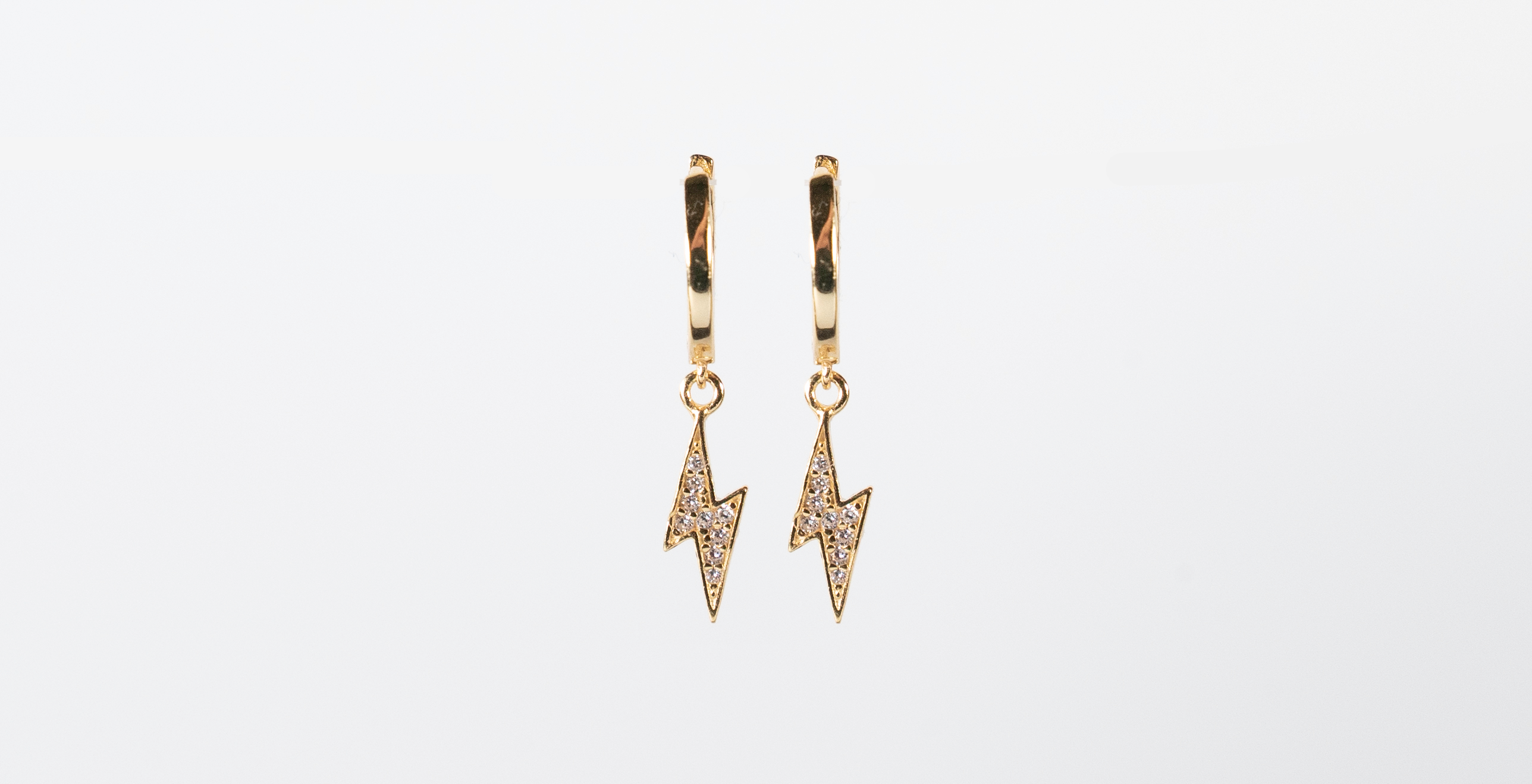 Yellow Gold Hoop with Lightning Bolt - Bella Andrea London (1)