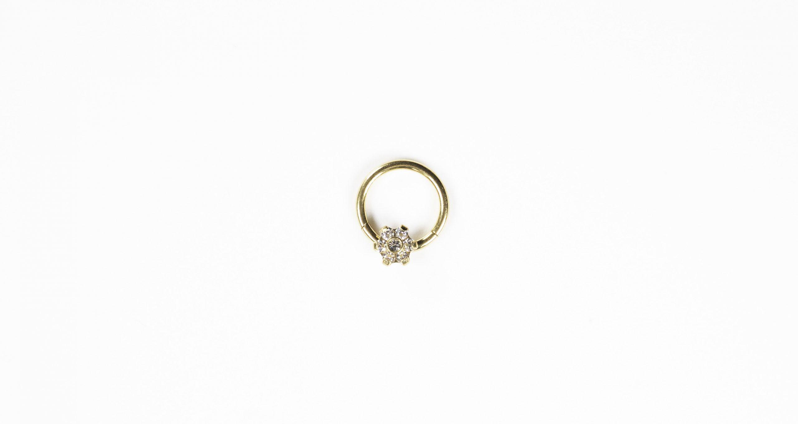Crystal Flower Huggie Hoop - Bella Andrea London Piercing Jewellery