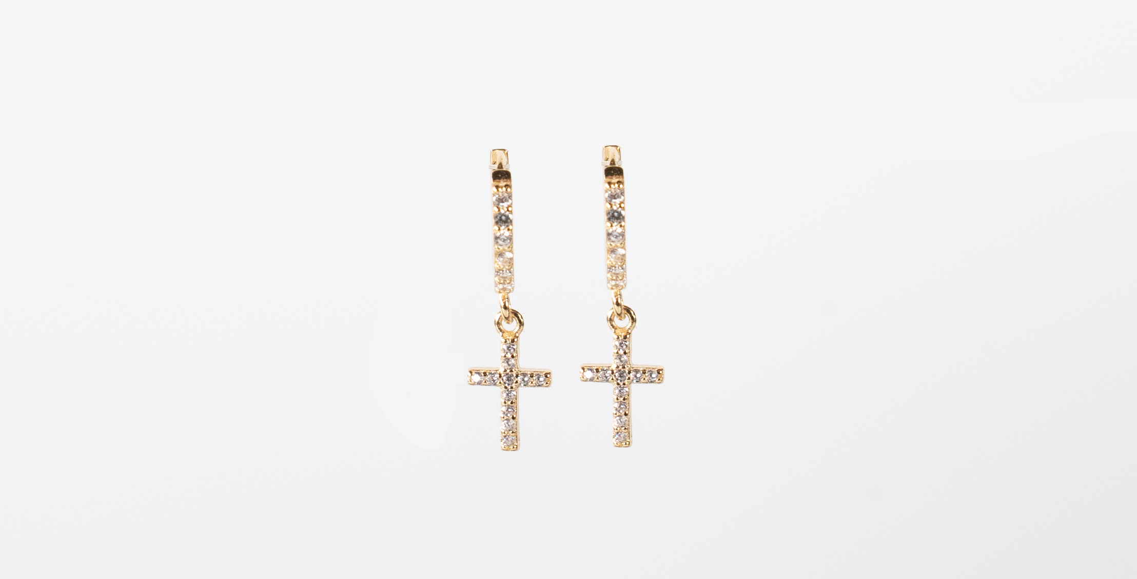 Yellow Gold Jewelled Hoops with Cross - Bella Andrea London